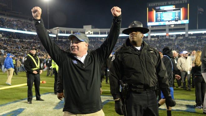 UK head coach Mark Stoops after winning the University of Kentucky Wildcats Football game against the South Carolina Gamecocks in Lexington, KY. Saturday, October 4, 2014.
