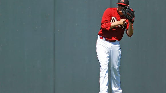 Arizona Diamondbacks' Mark Trumbo does his best to avoid a swarm of bees as he plays left field against the Milwaukee Brewer during their Cactus League game Sunday,  March 16, 2014  at  Salt River Fields at Talking Stick, Arizona.