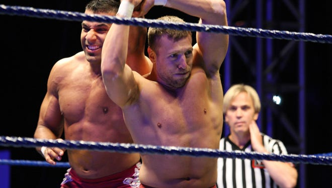 Daniel Bryan (right) and Tiger Raj Singh in action during the WWE Smackdown Live Tour on July 08, 2011 in Durban, South Africa.