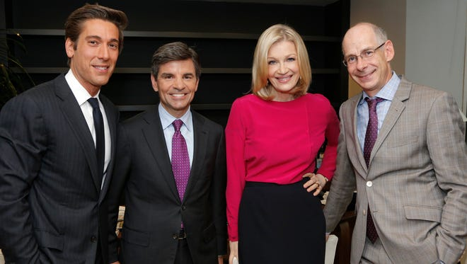 ABC News chief James Goldston, right, poses with David Muir, left, George Stephanapoulos and Diane Sawyer. In September, Muir will take over as 'World News' anchor, while Diane Sawyer will focus on big issues and extraordinary interviews. Meanwhile, George Stephanopoulos, will keep his gigs on 'Good Morning America' and 'This Week,' but will get a new title: Chief Anchor of ABC News, handling special reports and breaking news.
