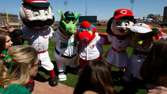 Reds and Dragons mascots get together