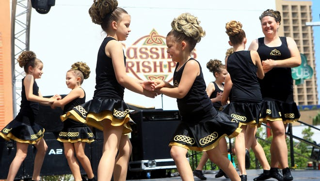 Members of the Gildea School of Irish Dance perform during the 6th annual St. Patrick's Day Festival on Saturday, March 18, 2017, in Corpus Christi.