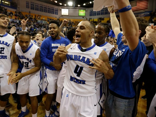 Brenton Scott and his Indiana State teammates celebrate beating Butler.