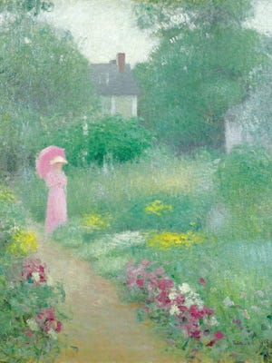 """Edmund William Greacen's painting, """"In Miss Florence's Garden,"""" is par of an exhibit titled """"Impressionism: American Gardens on Canvas,"""" at the New York Botanical Garden."""