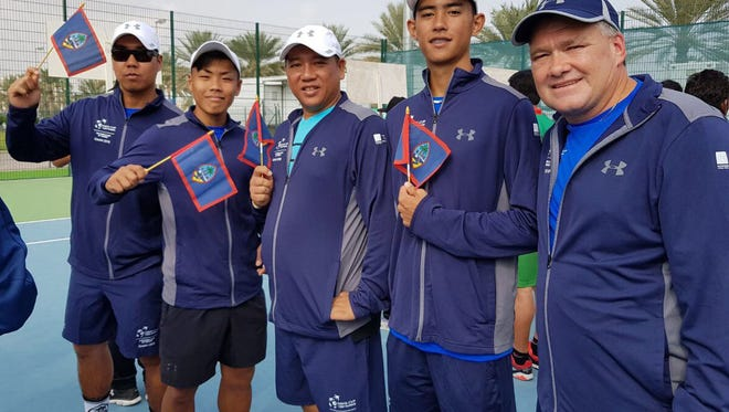 Guam's first-ever team competing in Davis Cup by BNP Paribas during opening events at the Sultan Qaboos Sport Complex in Muscat, Oman. From left: Daniel Llarenas, Christopher Cajigan, Jean-Pierre Huynh, Mason Caldwell and captain Torgun Smith.