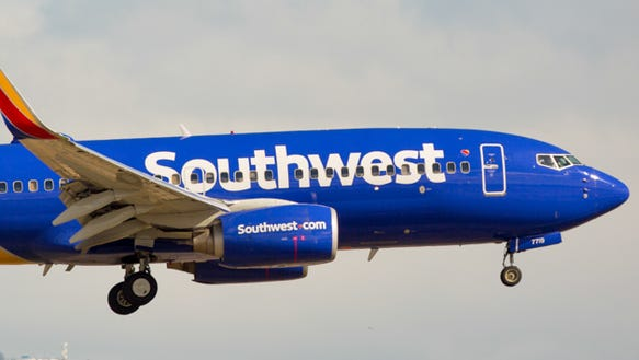 A Southwest Airlines Boeing 737 lands at Boise Airport