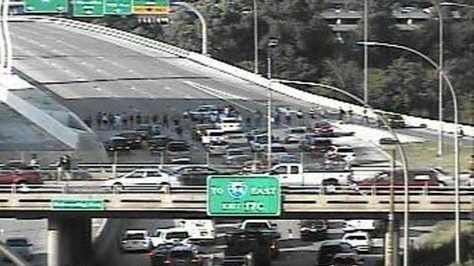 Minnesota DOT camera shows protesters on I-35 in Minneapolis.
