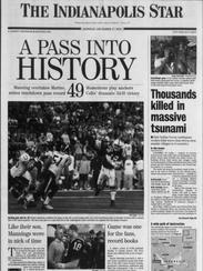 IndyStar A1 on Dec. 27, 2004 after Peyton Manning set
