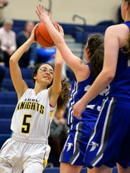 Eastern York's Kayla Bartch looks for an open teammate