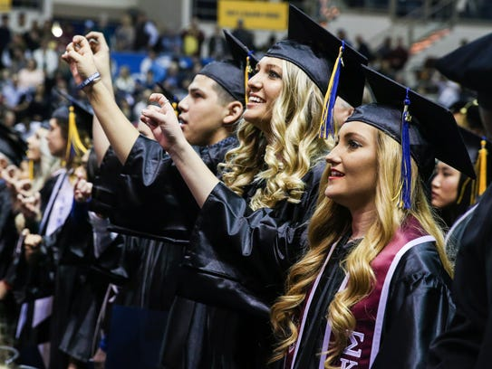 SEPT. 14:In September Angelo State University reached its long-awaited enrollment goal of 10,000 students. Ten years after joining the Texas Tech University System, enrollment totaled 10,447 students for the fall 2017 semester, three years before its 2020 target. The biggest areas of increase in student enrollment were in the university's graduate and dual-credit programs. Another tactic to increase enrollment was through recruiting efforts. The university now has students from 27 states and 17 countries.