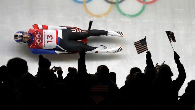 Chris Mazdzer of United States competes during final heats of the men's luge competition at the 2018 Winter Olympics in Pyeongchang, South Korea, Sunday, Feb. 11, 2018. (AP Photo/Wong Maye-E)
