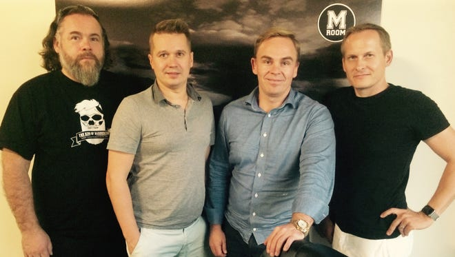 From left: M Room founders Petri Sipilainen and Toni Kylatasku, joined  by Markku Kosonen, partner and chief financial officer, as well as Oskari Kariste, a Naples resident in charge of Florida operations. They are pictured in their space that's being set up a the Naples Accelerator.
