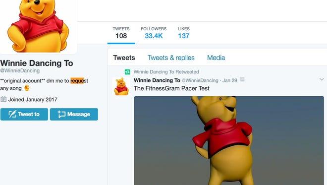 A screenshot of the @WinnieDancing Twitter account.