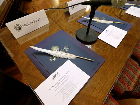 Quill ballpoint pens sit ready for Elector College electors, Monday, Dec. 19, 2016, in Olympia, Wash. Members of Washington state's Electoral College met at noon Monday in the Capitol to complete the constitutional formality.