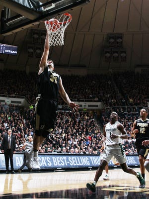 Purdue Boilermakers guard Dakota Mathias (31) lays the ball in against the Michigan State Spartans  at Mackey Arena. Purdue defeats Michigan State 80-63.