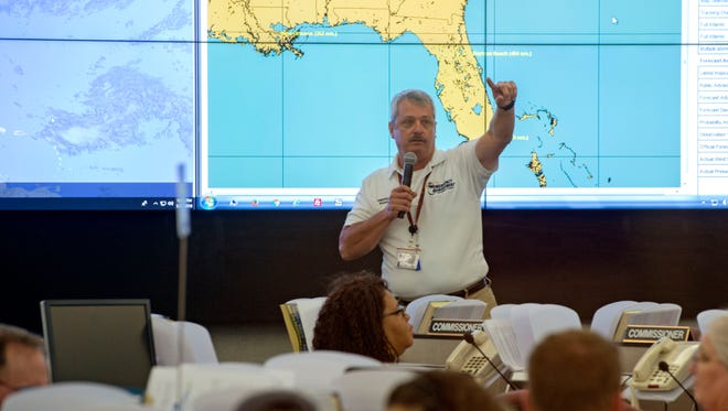 Emergency Manager John Dosh does a briefing Sunday, May 27, 2018 at the Escambia County Emergency Operations Center.