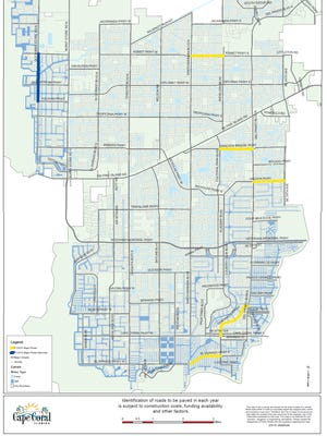 This map shows which major roads were bid on Thursday afternoon and includes possible alternates Cape Coral City Council could approve for repaving.