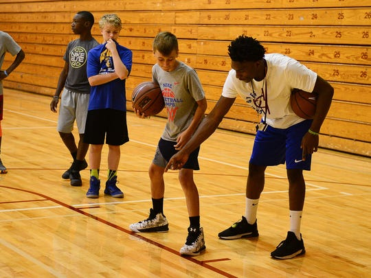 Players work on skills at the Nike Boys Basketball Camp at Salisbury University.