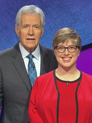 Elmira native Rebecca Wald joins host  Alex Trebek during a recent stint as a contestant on Jeopardy!