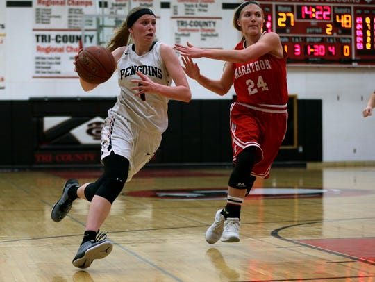 Tri-County's Amber Baehman attempts to drive past Brooke Balz of Marathon during their nonconference game Friday night in Plainfield.