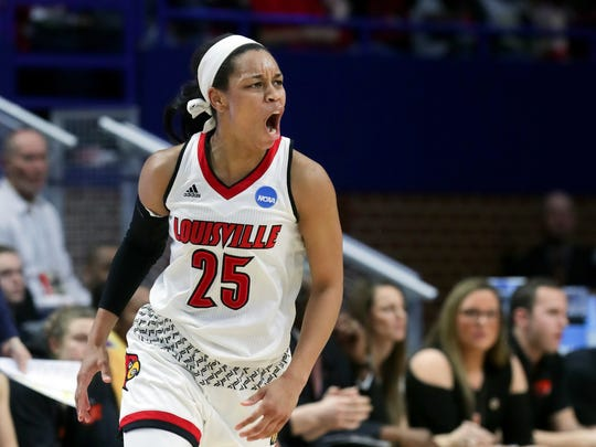 Louisville's Asia Durr celebrates after knocking down a shot against Oregon State.  March 25, 2018