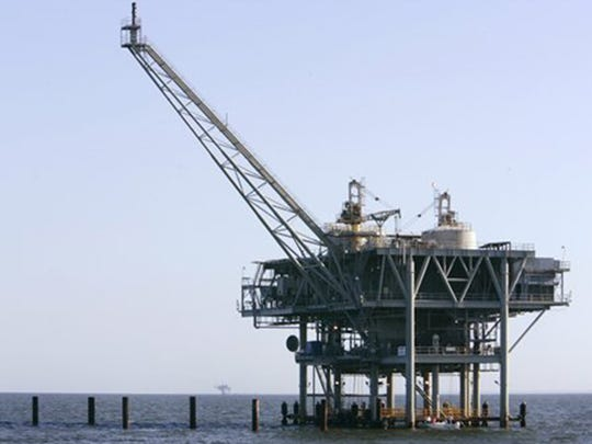 A drilling rig off the coast of California.