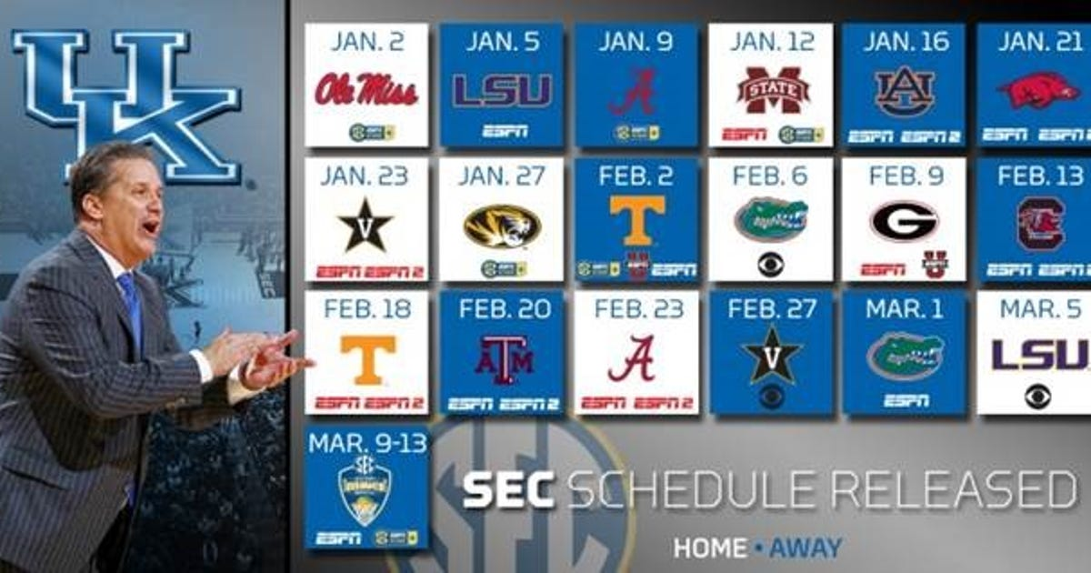 Kentucky Basketball Announces Tv Schedule Game Times And: SEC Announces Kentucky's 2016 Conference Schedule