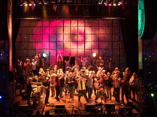 Last year's Shine A Light encore with more than 50 musicians on stage to close the marathon benefit concert.