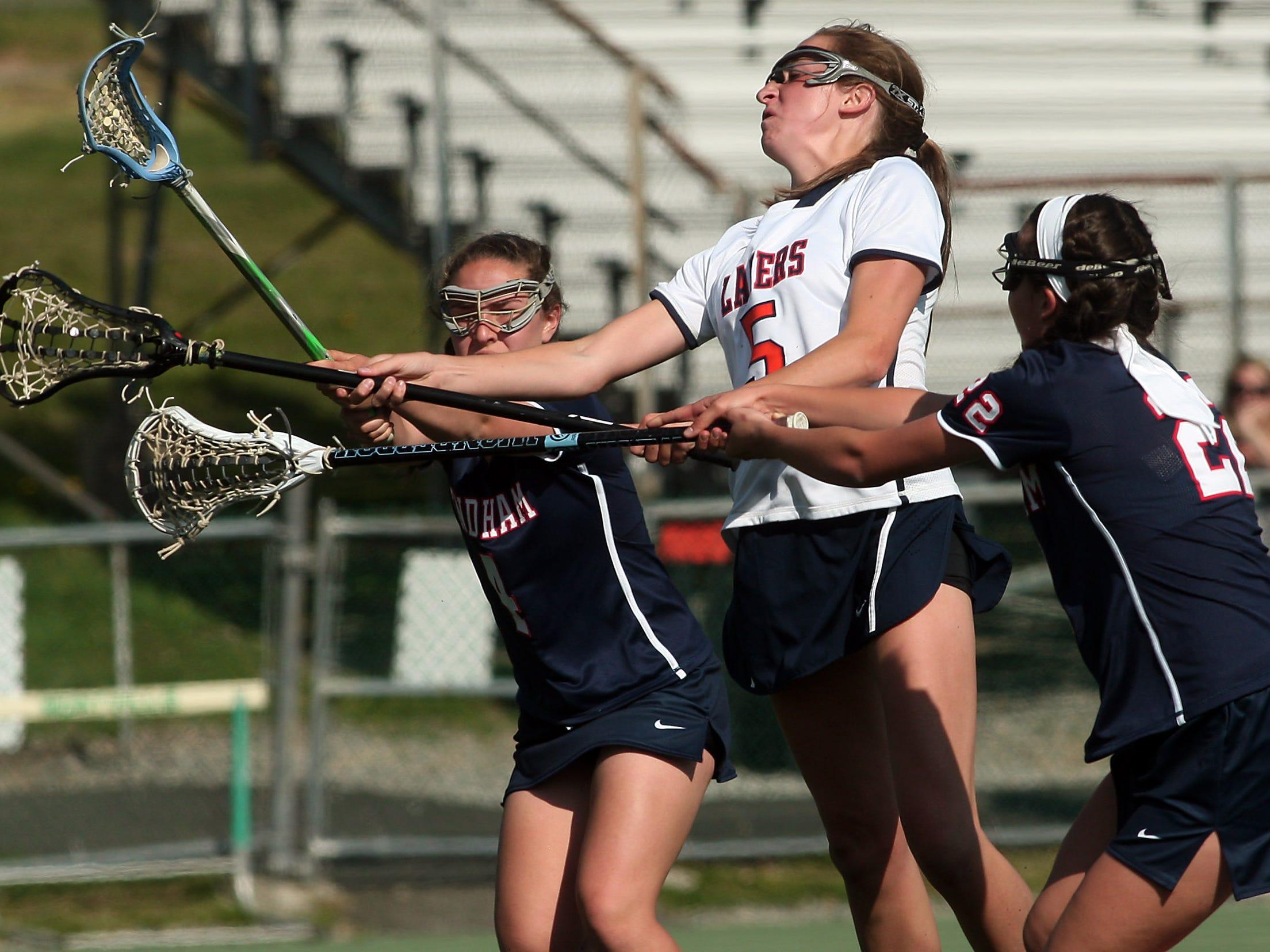 Mountain Lakes' Rachel Treweeke scores on Mendham during their Morris County Tournament semifinal Thursday.