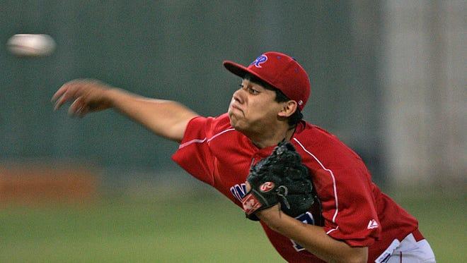 Indio's Antonio Chavarria pitches against Palm Desert.