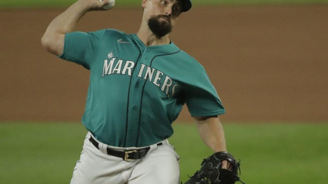 Dan Altavilla, a former Mercyhurst University standout, pitches against the Los Angeles Angels, Thursday, Aug. 6, 2020, in Seattle. The Seattle Mariners traded him to the San Diego Padres on Sunday.