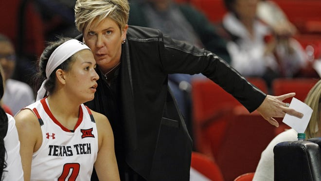 Texas Tech coach Marlene Stollings talks to guard Mia Castaneda (0) during a non-conference game Nov. 9 against Jacksonville State at United Supermarkets Arena.