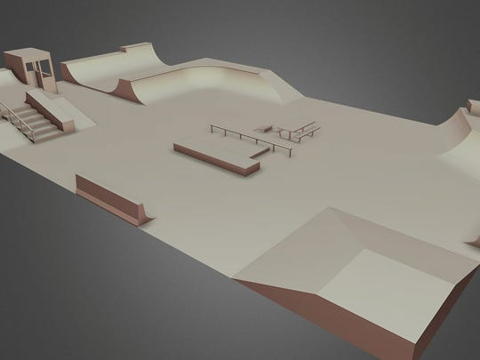 A computer rendering of the new Tony Hawk-designed skatepark that will be opening in Detroit on Aug. 16.