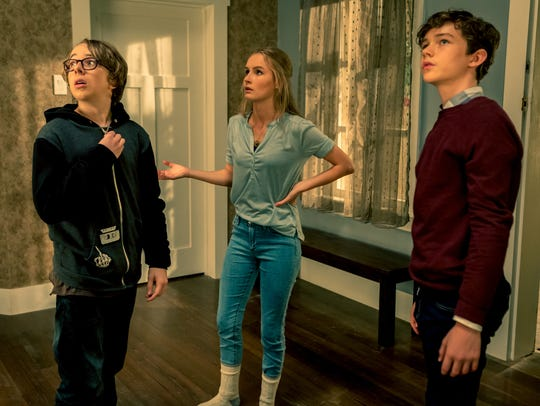 Garrett (Ed Oxenbould from left), Ashley (Olivia DeJonge)