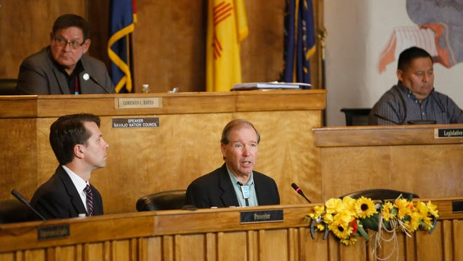 U.S. Sen. Tom Udall, D-N.M., center, speaks during the summer session of the Navajo Nation Council on Wednesday in Window Rock, Ariz.