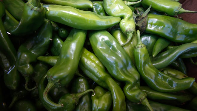 Green chile is pictured on Thursday at the Farmers Market in Flora Vista.