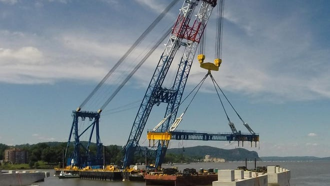 The Left Coast Lifter installs the first two girder assemblies for the new Tappan Zee Bridge on June 24. The new bridge is expected to open in 2018.