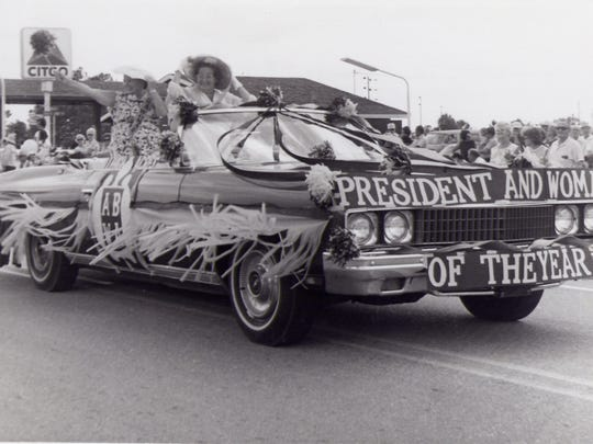The President and Woman of the Year for the American Business Woman's Association of Lehigh Acres participate in the Lehigh Spring Festival Parade of 1976.