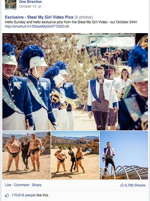 Members of the Shadow Hills High School marching band are pictured behind the scenes of One Direction's latest music video shoot.