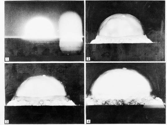 """This July 16, 1945, sequence of file photos shows a mushroom cloud as it is recorded by a U.S. Army automatic motion picture camera six miles away as the first atomic bomb test was conducted north of Alamogordo. A new PBS special looks into the creation of the atomic bomb in the city of Los Alamos and will feature newly-restored footage of nuclear weaponry. """"The Bomb,"""" which begins airing Tuesday, July 28, 2015, on most PBS stations, seeks to tell the story of the deadly device as the 70th anniversary of the atomic bombings of Hiroshima and Nagasaki approaches."""