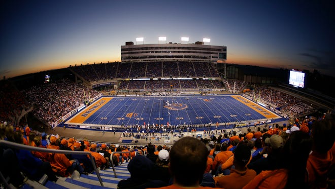 In this photo made with a fish-eye lens, the famous blue turf at Albertsons Stadium is shown during an NCAA college football game between Boise State and Nevada on Oct. 19, 2013 .