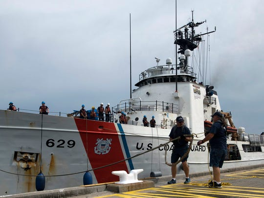 The U.S. Coast Guard Cutter Decisive arrives Tuesday at its new home port at Pensacola Naval Air Station.