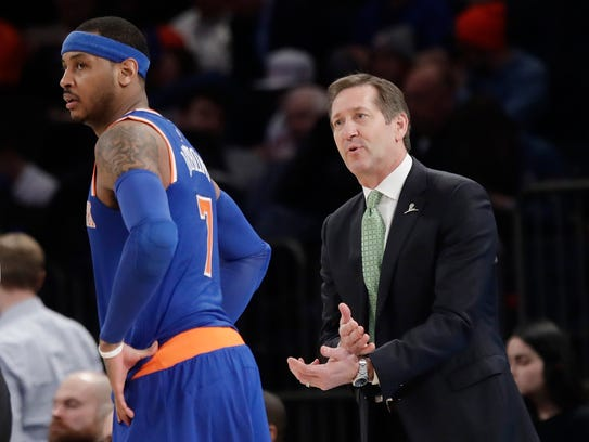 New York Knicks coach Jeff Hornacek, right, talks to