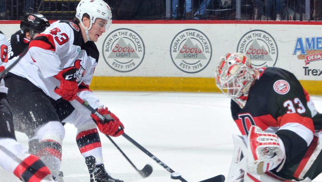 The Binghamton Devils scored four times in the third period of their 5-2 AHL win over the Belleville Senators on Dec. 17 at Floyd L. Maines Veterans Memorial Arena.
