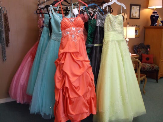 "Gently-used prom dresses are available at ""Off Yer Rocker"" in Wisconsin Rapids."