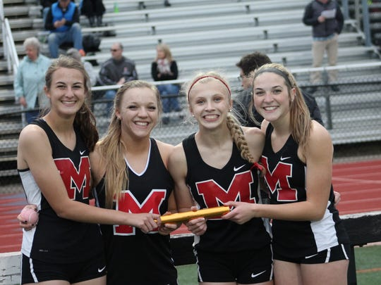 The Milford girls won the 4x100 relay at the Anderson Invitational. From left are sophomore Madison Chitwood, junior Emma Netzel, sophomore Andrea Armstrong and senior Lauryn Knarr.
