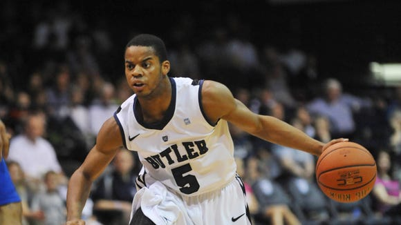 Former Butler guard Ronald Nored was back at Hinkle Fieldhouse Thursday night.