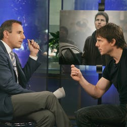 Tom Cruise speaks with Matt Lauer during the telecast of NBC's Today Show on June 24, 2005. The interview became more heated when Lauer began discussing anti-depressants and Scientology.