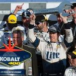Mar 6, 2016: NASCAR Sprint Cup driver Brad Keselowski celebrates after winning the Kobalt 400 at Las Vegas Motor Speedway.