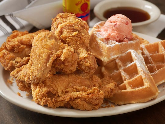 The chicken and waffles is three days in the making.